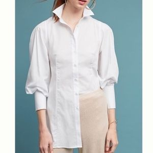 Maeve Harriet Poplin Puff Sleeve White Top Blouse